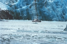 RA-3 boat is dwarfed by Sawyer Glacier at the head of Tracy Arm
