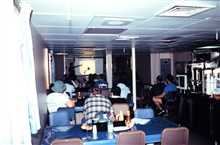 The first of many science talks presented on board the NOAA Ship RONALD H. BROWN on the Aerosols cruise from Norfolk, Virginia, to Capetown, South Africa.  This was at the beginning of the 1999 RONALD H. BROWN around the world cruise.