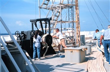 Crewmembers Lisa Glover,Pat Quinanola, Matt Ofsthus, and Terry Gregg help tieup the RONALD H. BROWN in Male, capital of the Maldive Islands.