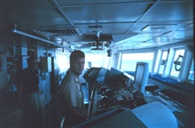 NAURU99 Chief Scientist and Lieutenant Mark Boland on the bridge of the NOAAShip RONALD H. BROWN in the South Pacific.