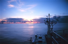 A glorious sunrise in the South Pacific as the RONALD H. BROWN is steamingtowards the East.