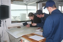 Checking on the location of the NOAA Ship FAIRWEATHER as it traverses theInside Passage.