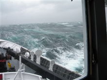 NOAA Ship FAIRWEATHER going with the flow in a Chatham Strait storm.