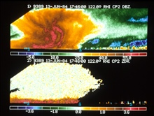 Up-looking radar captures internal structure of thunderstorm.