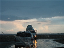 NOAA/NSSL X-Pol Mobile radar uses a 3cm wavelength to detect smaller particlesincluding cloud droplets.  This radar can distinguish tornado debris clouds from precipitation.