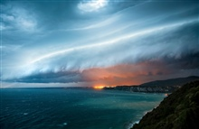 A massive cold front with squall line over northern Adriatic sea, Italy.