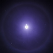 Montana Moon - a Lunar Halo.   a ring around the moon means rain soon.In this case, probably snow.