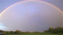Beautiful full rainbow after a thunderstorm.