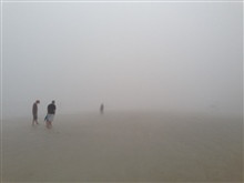 Ocean fog thick as split pea soup as the old adage goes greets morningwalkers on the beach in New Smyrna Beach, Florida.