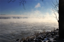 River fog  on the Susquehanna River. The temperatures dropped very low overnightand with the moist air there was river fog and hoar frost on plants along theriver.