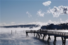 A very cold and windy day in January.  The sea smoke was spectacular.
