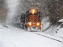 Train in the snow with tank cars full of gas from hydraulically fracturedMarcellus Shale.