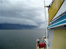 Shelf cloud approach while anchored in Santa Rosa Sound Florida.