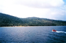 The inflatable boat served as a water taxi at Isla Cocos.