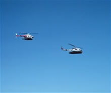 NOAA helicopters in transit to Alaska for work on Outer Continental ShelfEnvironmental Assessment Program.