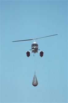 Lieutenant Budd Christman flying leased Bell 206 in Bering Sea returning to shipwith seal carcass for dissection.