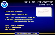 Slide describing capabilities and uses of Bell 212 helicopters N60RF andN61RF.