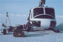Bell UH-1M supporting through-ice CTD studies for OCSEAP.  West of Point Barrow.