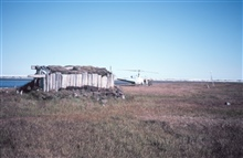 Explorer's hut on an island on the northwest coast of Canada in the MackenzieRiver delta area.