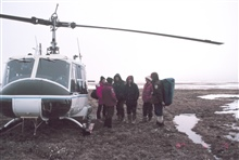 Bell UH-1M dropping off ornithologists conducting bird studies.  Dr. RebeccaFields of the U.S. Fish and Wildlife Service was chief scientist.  Studies wereconducted in the Prudhoe Bay area.