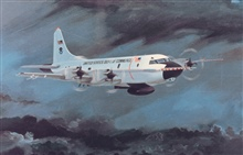 Artist's rendition of NOAA WP-3D flying in storm