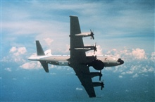 NOAA P-3 in flight showing underside