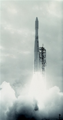 Delta 37 rocket propelling ESSA II into orbit.