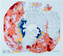 Contoured sea surface temperature map of the Northern Hemisphere.  Derived fromITOS-1 data.