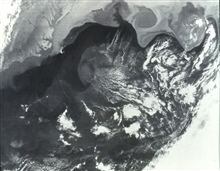 Gulf Stream is seen as darker water extending to northeast from Cape Hatteras.This image was obtained from the Very High Resolution Radiometer (VHRR) onthe NOAA-3 Satellite.