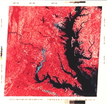 Infrared imagery as obtained by the Landsat satellite of upper Chesapeake Bay.