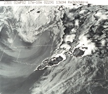 Sector of GOES full disk composite infrared and visible image indicates areasof high convection and potentially violent weather.  A tornado occurred at Parisin the lower left corner of the cloud in Texas.  In this image, the infra-redsensor is actual