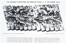 The World's Weather as seen by ESSA 3 -  this image was assembled from 156individual photographs obtained over the 24 hours of October 15, 1966.  Imageclarity and ability to mosaic photos has improved markedly over earlier TIROSsystems.