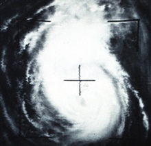Hurricane Betsy as photographed from TIROS VII.  TIROS VII was on its 11,965thorbit at this time.  It was launched on June 19, 1963.  Latitude 29 N, Longitude75W.