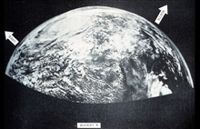 View of tropical cyclone centered near Del Rio, Texas.  This picture showed thepromise of satellite monitoring of weather.  The picture was made from moviecameras mounted in a Navy Aerobee rocket fired from White Sands Proving Ground.Monthly Weather