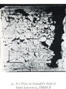 Ice floes as seen in Canada's Gulf of St. Lawrence as imaged by TIROS II.In: TIROS A Story of Achievement RCA, February 28, 1964, Figure 8a.