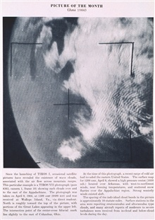 Wave clouds associated with air flow over the Appalachian Mountains.  GreatLakes show to the west.  Photo taken from TIROS VII, pass 4363, camera 1,frame 10.  Picture of the Month, Monthly Weather Review,  June 1964.