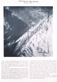 Edge of cloud mass over western Mexico believed to be associated with the jetstream.  Clouds mainly altocumulus and dense cirrus.  TIROS VII, pass 2292/2291,frame 4.  Picture of the Month, Monthly Weather Review,  March 1964.