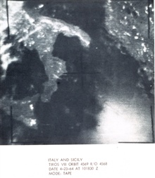 TIROS VII orbit 4569 R/O 7679  image of Italy and Sicily.In: The Best of TIROS,  NASA Goddard Spaceflight Center, 1965.