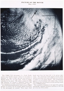 A North Pacific extratropical cyclone as seen from TIROS VIII, pass 764/762,camera I, frame 13.  The easternmost cloud band suggests frontal clouds, thecenter band with transverse elements appears to be associated with the jetstream, while the wester