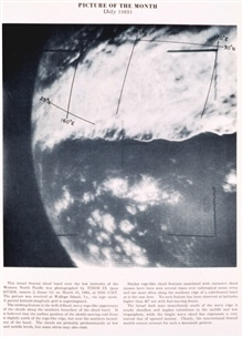 A broad frontal cloud band over the low latitudes of the western North PacificOcean.  Image photographed by TIROS IX, pass 627/624, camera 2, frame 15.Picture of the Month, Monthly Weather Review,  July 1965.