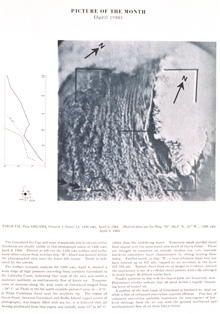 The Greenland Ice Cap with remarkable low level convective cloudiness.  TIROSVII, pass 4365/4364, camera 1, frame 13.  Picture of the Month, Monthly Weather Review, April 1966.