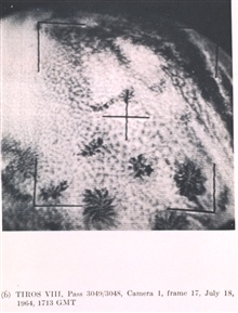 Actinoform, radial or semi-radial , cloud patterns over the tropical easternPacific roughly centered at 15 S, 100 W.  Individual patterns are approximately100 to 150 miles in diameter.  Picture of the Month, Monthly Weather Review,April 1965.  TIROS
