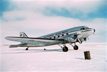 Large planes with conventional landing gear can land on the sea iceA DC-3 offshore at Tigvariak Island
