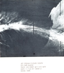 Jet stream clouds south of Cape Blanc, north Atlantic coast of Africaphotographed by TIROS VIII orbit 4671 R/O 4670.In: The Best of TIROS,  NASA Goddard Spaceflight Center, 1965.