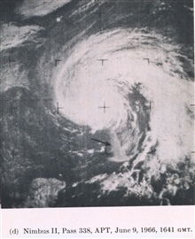 Hurricane Alma off the west coast of Florida.  Highly reflective water off westcoast indicated by arrow.  Probably caused by coastal waters being agitated byhurricane.  NIMBUS II, pass 338, APT.  From Picture of the Month, MonthlyWeather Review, Augu