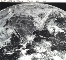 GOES image of North America.  Large tropical storm off Baja California.  Frontalsytem over upper Midwest.  Tropical Storm Diana off the east coast ofFlorida.
