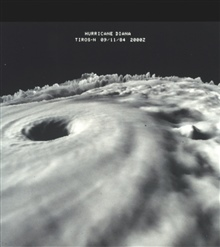 TIROS-N three dimensional cloud-top image of Hurricane Diana as it wasstrengthening from a Category III storm to a Category IV storm.  This was one ofthe earliest three dimensional images of a hurricane from data obtained fromsatellite.