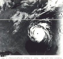 TIROS-N view of Hurricane Diana churning off North Carolina coast.  The stormhad mercifully weakened to a Category II status at this time with 95 knotmaximum sustained winds. Notice cloud shadows on west side of Diana.
