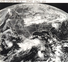 GOES view of North America.  The center of Tropical Storm Diana is heading backout to sea after crossing North Carolina.  Tropical Storm Edouard is approaching its maximum strength of 55 knots in the southwest Gulf of Mexico.  TropicalStorm Norbert i