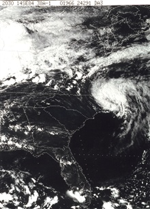 The remains of Hurricane Diana, still a tropical storm, heading offshore and out to sea.